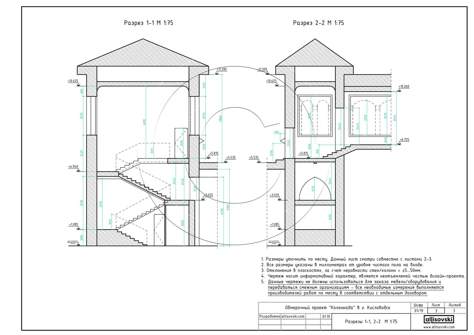 Разрезы здания обмер