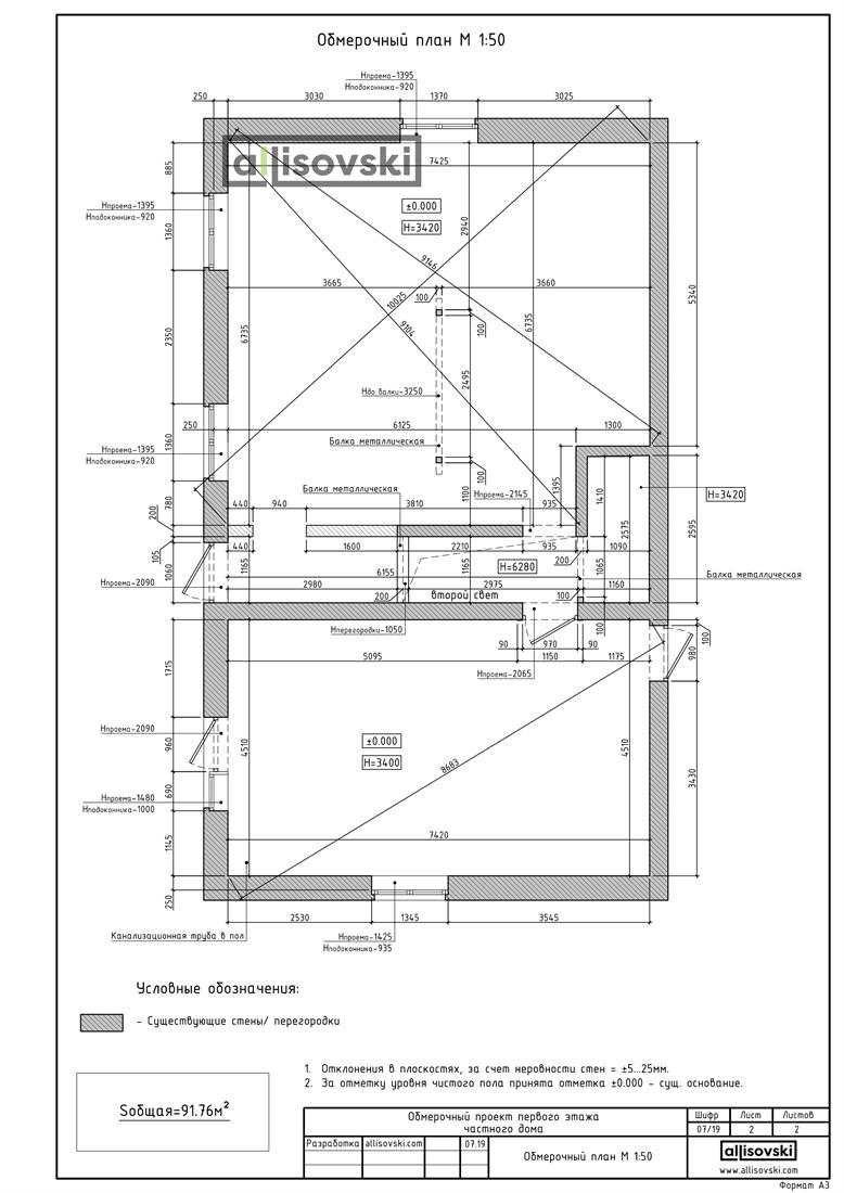 План обмера из бумаги в Autocad